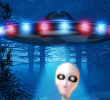 Forest UFO Close Encounter Sticker