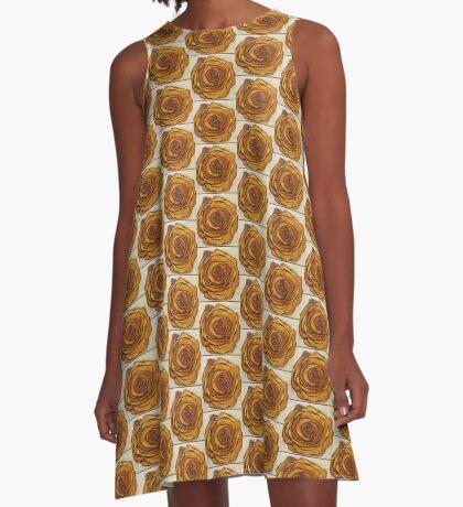 Golden Blossom A-Line Dress
