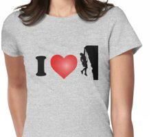 I Love Rock Climbing Womens Fitted T-Shirt