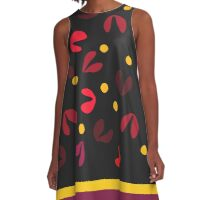 fuschia and red petals yellow polka dots on black A-Line Dress