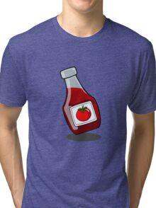 Cartoon Ketchup Bottle Tri-blend T-Shirt