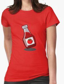Cartoon Ketchup Bottle Womens Fitted T-Shirt