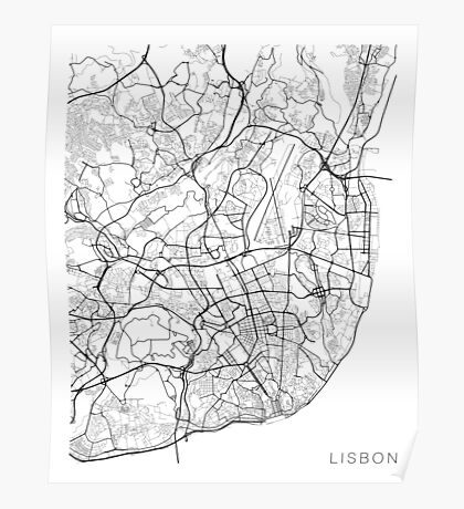 Lisbon Map, Portugal - Black and White Poster