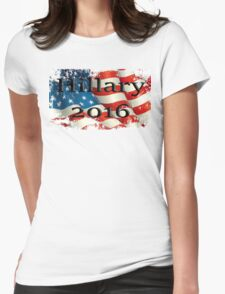 Hillary 2016 destressed flag Womens Fitted T-Shirt