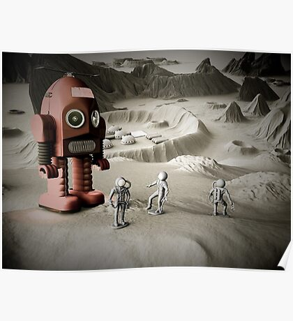 Thunder Robot and Toy Spacemen Retro Styled Poster