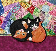 Kittens Playing On Heirloom Quilt by anitalmccormick