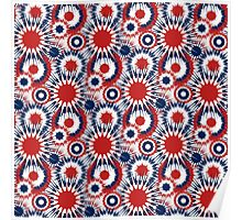 Red White and Blue Fireworks Pattern Poster