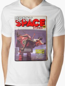 Spicy Space Stories Fake Pulp Cover Mens V-Neck T-Shirt