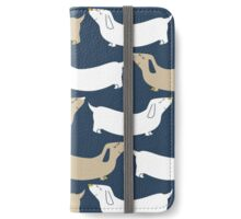 dachshund - navy and tan iPhone Wallet/Case/Skin