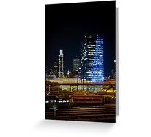 Night Across the Train Yard Greeting Card