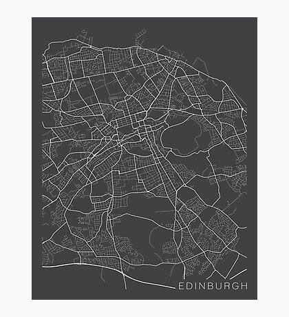 Edinburg Map, Scotland - Gray Photographic Print