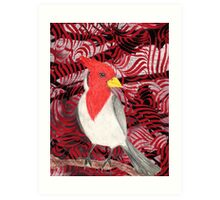 Red Crested Cardinal Collage Art Print