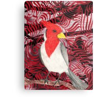 Red Crested Cardinal Collage Metal Print