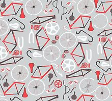 Bicycle Assembly Pattern (B W R) by BGWdesigns