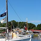 Boats at the Chesapeake Maritime Museum by searchlight