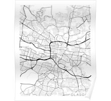 Glasgow Map, Scotland - Black and White Poster