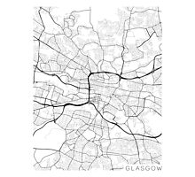 Glasgow Map, Scotland - Black and White Photographic Print