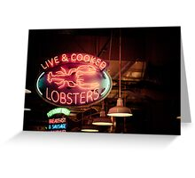 Live and Cooked Lobsters Greeting Card