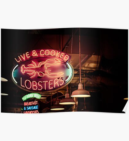 Live and Cooked Lobsters Poster