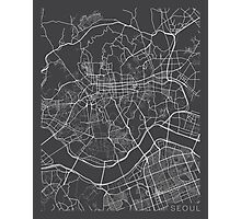 Seoul Map, South Korea - Gray  Photographic Print