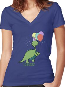 Baby Dinosaur Daddy Women's Fitted V-Neck T-Shirt