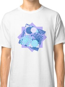 Flower Pattern, flowers in aqua, blue, violet, white Classic T-Shirt