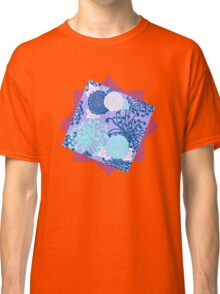 Flower Pattern, flowers in aqua, blue, violet, white Classic T-Shirt