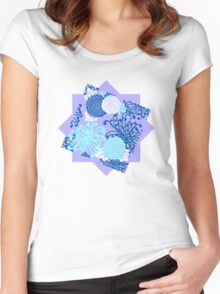 Flower Pattern, flowers in aqua, blue, violet, white Women's Fitted Scoop T-Shirt