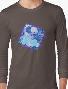 Flower Pattern, flowers in aqua, blue, violet, white Long Sleeve T-Shirt