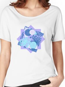 Flower Pattern, flowers in aqua, blue, violet, white Women's Relaxed Fit T-Shirt