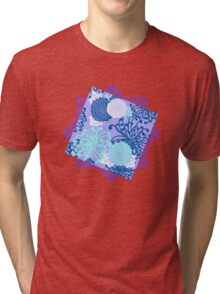 Flower Pattern, flowers in aqua, blue, violet, white Tri-blend T-Shirt