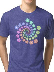 Groovy Flower Spiral - Retro 60s - Vintage 1960s - Rainbow Tri-blend T-Shirt