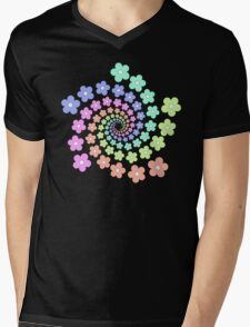 Groovy Flower Spiral - Retro 60s - Vintage 1960s - Rainbow Mens V-Neck T-Shirt