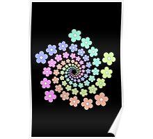 Groovy Flower Spiral - Retro 60s - Vintage 1960s - Rainbow Poster