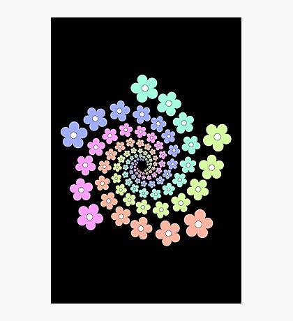 Groovy Flower Spiral - Retro 60s - Vintage 1960s - Rainbow Photographic Print