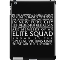 Law and Order:SVU Special Victims Unit Introduction Dick Wolf Classic iPad Case/Skin