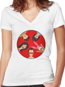 Bob's Burgers Circle Red Women's Fitted V-Neck T-Shirt