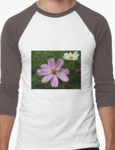 Pink and White Cosmo Flowers Men's Baseball ¾ T-Shirt
