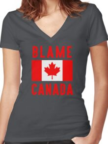 Blame Canada Women's Fitted V-Neck T-Shirt