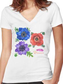 I Love Flowers Women's Fitted V-Neck T-Shirt