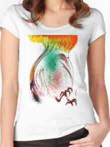 Yellow Flame Crested Bird Women's Fitted Scoop T-Shirt