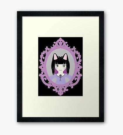 Kawaii Cat Cosplay Girl Framed Print