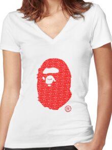 Bape x Japanese Box Logo Women's Fitted V-Neck T-Shirt