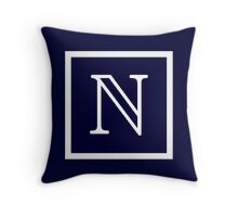 Navy Blue White Monogram N In a Square Throw Pillow