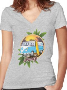 Volkswagen Camper - Surf Beach Party Women's Fitted V-Neck T-Shirt