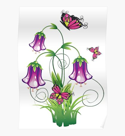 Bluebell Flower with Leaves Poster