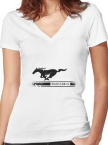Mustang Design Women's Fitted V-Neck T-Shirt