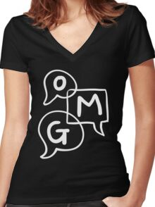 OMG Lettering Typography word expression  Women's Fitted V-Neck T-Shirt