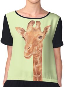 Watercolor Portrait of Giraffe Chiffon Top