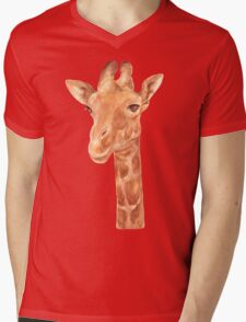Watercolor Portrait of Giraffe Mens V-Neck T-Shirt